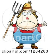 Mad Cartoon Chubby Scarecrow Holding Up A Fist And Pitchfork
