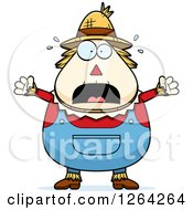 Clipart Of A Scared Screaming Cartoon Chubby Scarecrow Royalty Free Vector Illustration