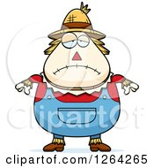 Clipart Of A Sad Depressed Cartoon Chubby Scarecrow Royalty Free Vector Illustration