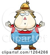Clipart Of A Careless Shrugging Cartoon Chubby Scarecrow Royalty Free Vector Illustration