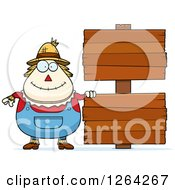 Clipart Of A Happy Cartoon Chubby Scarecrow With Wood Signs Royalty Free Vector Illustration