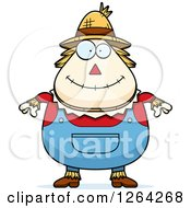 Clipart Of A Happy Cartoon Chubby Scarecrow Royalty Free Vector Illustration