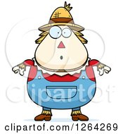 Clipart Of A Surprised Gasping Cartoon Chubby Scarecrow Royalty Free Vector Illustration