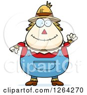 Clipart Of A Friendly Waving Cartoon Chubby Scarecrow Royalty Free Vector Illustration