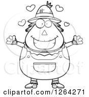Clipart Of A Black And White Loving Cartoon Chubby Scarecrow With Open Arms And Hearts Royalty Free Vector Illustration