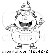 Clipart Of A Black And White Happy Cartoon Chubby Scarecrow With An Idea Royalty Free Vector Illustration by Cory Thoman