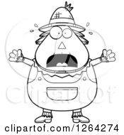 Clipart Of A Black And White Scared Screaming Cartoon Chubby Scarecrow Royalty Free Vector Illustration by Cory Thoman