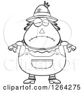 Clipart Of A Black And White Sad Depressed Cartoon Chubby Scarecrow Royalty Free Vector Illustration by Cory Thoman