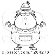 Clipart Of A Black And White Careless Shrugging Cartoon Chubby Scarecrow Royalty Free Vector Illustration by Cory Thoman
