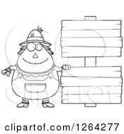 Clipart Of A Black And White Happy Cartoon Chubby Scarecrow With Wood Signs Royalty Free Vector Illustration by Cory Thoman