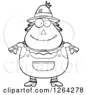 Clipart Of A Black And White Happy Cartoon Chubby Scarecrow Royalty Free Vector Illustration by Cory Thoman