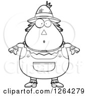Clipart Of A Black And White Surprised Gasping Cartoon Chubby Scarecrow Royalty Free Vector Illustration
