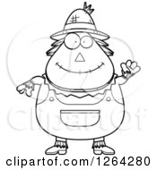 Clipart Of A Black And White Friendly Waving Cartoon Chubby Scarecrow Royalty Free Vector Illustration by Cory Thoman