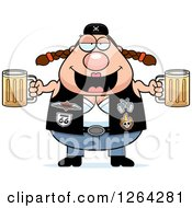 Clipart Of A Chubby Caucasian Biker Chick Royalty Free Vector Illustration by Cory Thoman