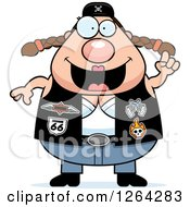 Clipart Of A Chubby Caucasian Biker Chick With An Idea Royalty Free Vector Illustration