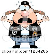Clipart Of A Scared Chubby Caucasian Biker Chick Screaming Royalty Free Vector Illustration