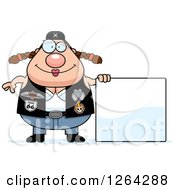 Clipart Of A Chubby Caucasian Biker Chick With A Blank Sign Royalty Free Vector Illustration