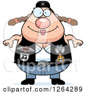 Clipart Of A Happy Chubby Caucasian Biker Chick Royalty Free Vector Illustration by Cory Thoman