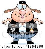 Happy Chubby Caucasian Biker Chick