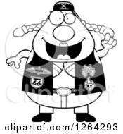 Clipart Of A Black And White Chubby Biker Chick With An Idea Royalty Free Vector Illustration