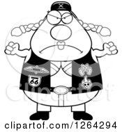 Clipart Of A Black And White Angry Chubby Biker Chick Holding Up Fists Royalty Free Vector Illustration