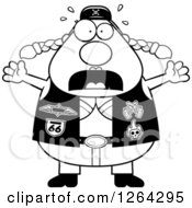 Clipart Of A Black And White Scared Chubby Biker Chick Screaming Royalty Free Vector Illustration