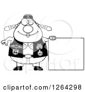 Clipart Of A Black And White Chubby Biker Chick With A Blank Sign Royalty Free Vector Illustration