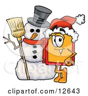 Clipart Picture Of A Price Tag Mascot Cartoon Character With A Snowman On Christmas by Toons4Biz
