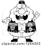 Clipart Of A Black And White Chubby Biker Dude With An Idea Royalty Free Vector Illustration by Cory Thoman
