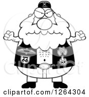 Clipart Of A Black And White Angry Chubby Biker Dude Holding Up Fists Royalty Free Vector Illustration by Cory Thoman