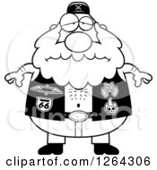 Clipart Of A Black And White Depressed Chubby Biker Dude Royalty Free Vector Illustration
