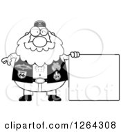 Clipart Of A Black And White Chubby Biker Dude With A Blank Sign Royalty Free Vector Illustration by Cory Thoman