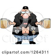 Chubby Caucasian Biker Dude Holding Beers