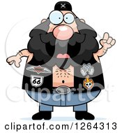Clipart Of A Chubby Caucasian Biker Dude With An Idea Royalty Free Vector Illustration by Cory Thoman