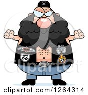Clipart Of A Angry Chubby Caucasian Biker Dude Holding Up Fists Royalty Free Vector Illustration