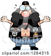 Clipart Of A Scared Caucasian Chubby Biker Dude Screaming Royalty Free Vector Illustration