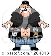 Clipart Of A Depressed Chubby Caucasian Biker Dude Royalty Free Vector Illustration