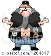 Clipart Of A Careless Shrugging Caucasian Chubby Biker Dude Royalty Free Vector Illustration