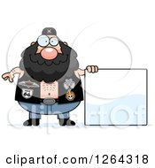 Chubby Caucasian Biker Dude With A Blank Sign