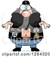 Clipart Of A Chubby Caucasian Surprised Gasping Biker Dude Royalty Free Vector Illustration
