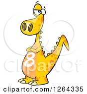 Clipart Of A Cartoon Yellow Dinosaur With A Number Eight On His Tummy Royalty Free Vector Illustration by toonaday