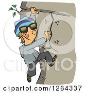 Cartoon Caucasian Boy Climbing A Mountain