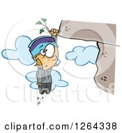 Clipart Of A Cartoon Caucasian Boy Hanging From A Weed On A Cliff Royalty Free Vector Illustration
