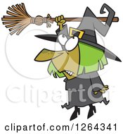 Clipart Of A Cartoon Hapless Halloween Witch Hanging From Her Broomstick Royalty Free Vector Illustration