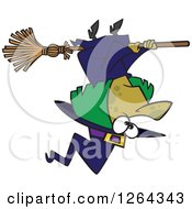Clipart Of A Cartoon Green Halloween Witch Flying Upside Down Royalty Free Vector Illustration