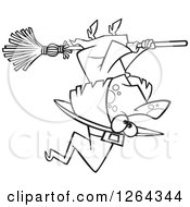 Clipart Of A Black And White Cartoon Halloween Witch Flying Upside Down Royalty Free Vector Illustration