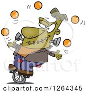 Clipart Of A Cartoon Talented Frankenstein Juggling And Riding A Unicycle Royalty Free Vector Illustration