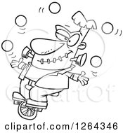 Black And White Cartoon Frankenstein Juggling And Riding A Unicycle