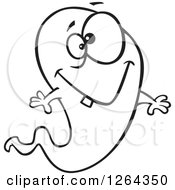 Clipart Of A Black And White Cartoon Happy Ghost With A Single Tooth Royalty Free Vector Illustration by toonaday