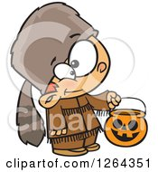 Clipart Of A Cartoon Caucasian Boy Trick Or Treating In A Davy Crockett Halloween Costume Royalty Free Vector Illustration by toonaday